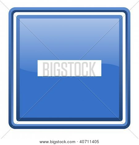 minus blue glossy square web icon isolated
