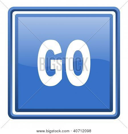 go blue glossy square web icon isolated