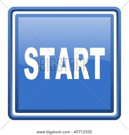 start blue glossy square web icon isolated