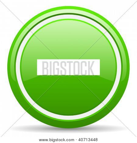 green glossy circle web icon on white background with shadow