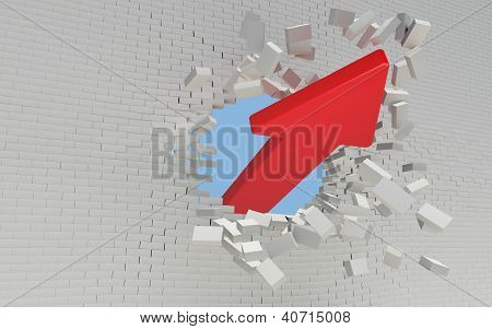 Red Arrow Breaks A Brick Wall