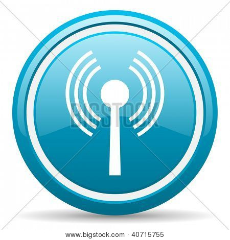 blue circle glossy web icon with shadow on white background illustration