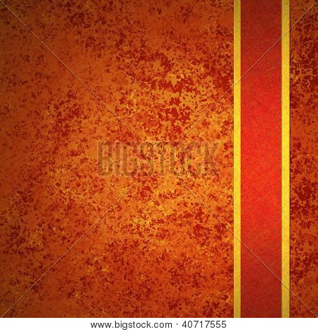 orange background with gold striped red ribbon