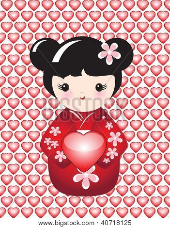 Kokeshi holding a glossy heart against background of glossy hearts. Also available in vector format