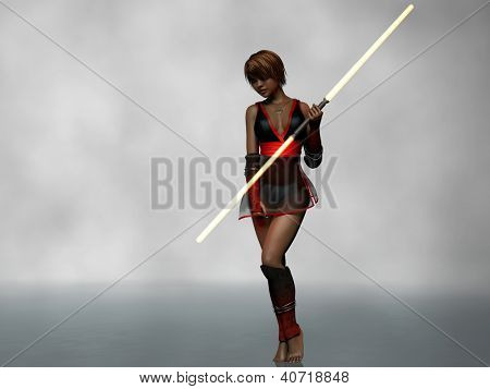 young mulatto girl with double lightsaber