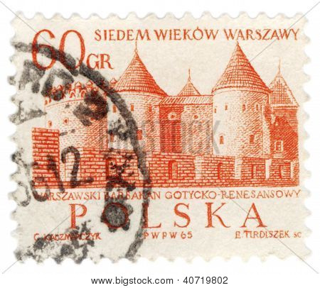 Barbican In Warsaw On Post Stamp