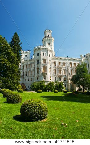 Beautiful renaissance castle Hluboka i the Czech Republic is located in gardens