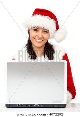 Christmas Woman On A Laptop