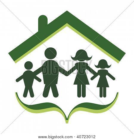 Abstract concept of family unity and security.