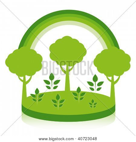 Reforestation design concept. Seedlings grow into trees.