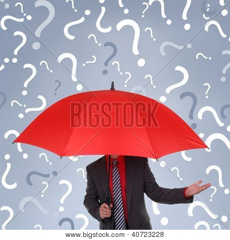 Businessman holding red umbrella with question mark rain concept for confusion, decisions or business recruitment