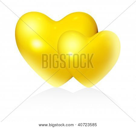 Golden couple hearts on white background (isolated).