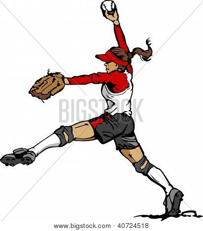 Softball Pitcher Vector Illustration