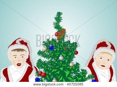 Children on a fir-tree