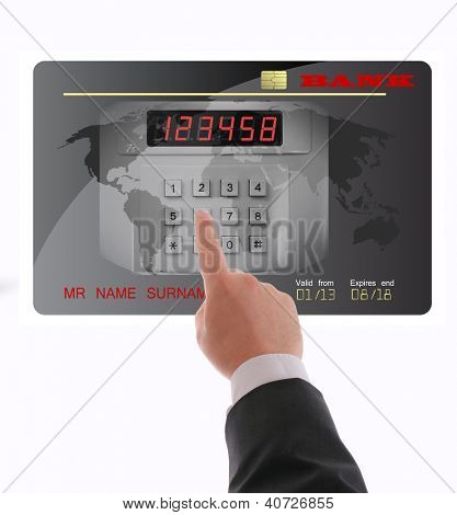 The man's hand selecting pin credit cards, credit card security,