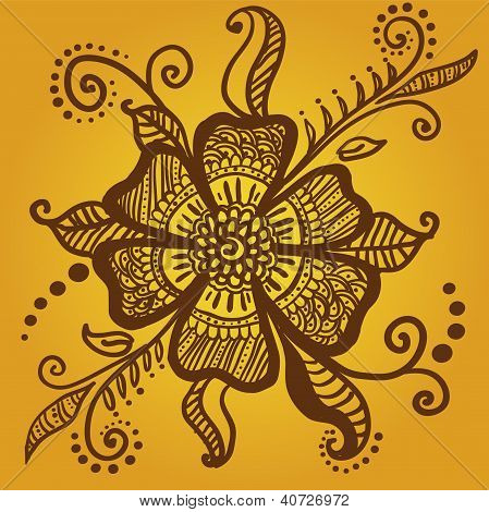 Abstract Flower For Henna Mehndi Tattoo