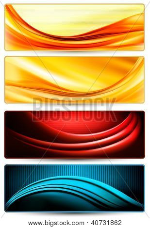 Set of colorful abstract business banners. Raster version of vector.