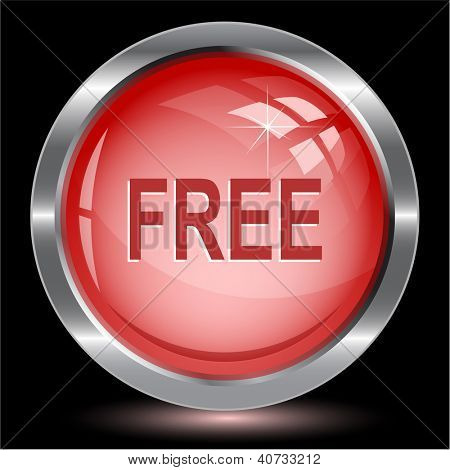 Free. Internet button. Raster illustration.