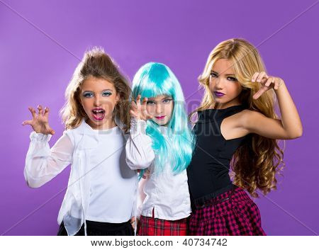 children group of fashiondoll friends scaring gesture girls on purple