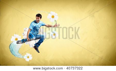 Modern style male dancer jumping and posing. Illustration