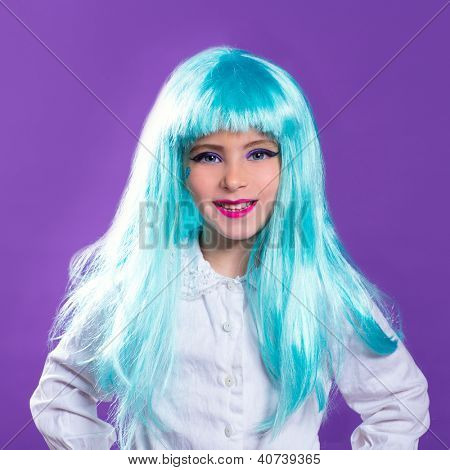 Children girl with blue turquoise long wig as fashion doll on purple