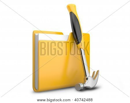 Yellow Folder With Hammer