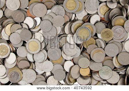 Pile Of Thai Baht Coin