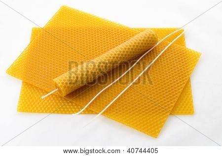 Candle Made Of Beeswax On Honeycomb - Background