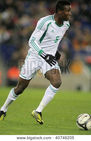 BARCELONA - JAN, 2: Nigerian player Solomon Kwambe in action during the friendly match between Catalonia and Nigeria at Estadi Cornella on January 2, 2013 in Barcelona, Spain