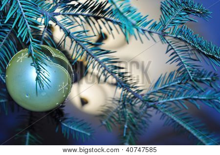 Original New Year Background With The Image Of Blue Christmas Tree