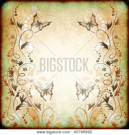 Vintage decor paper with frame