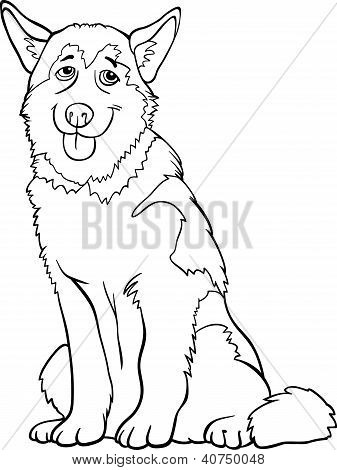 Husky oder Malamute Hund Cartoon zum Ausmalen