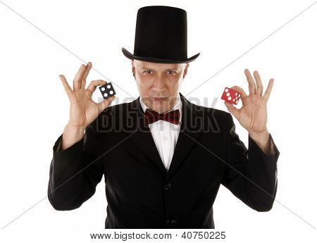 Gambler with dice