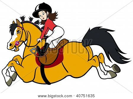 girl rider with happy pony