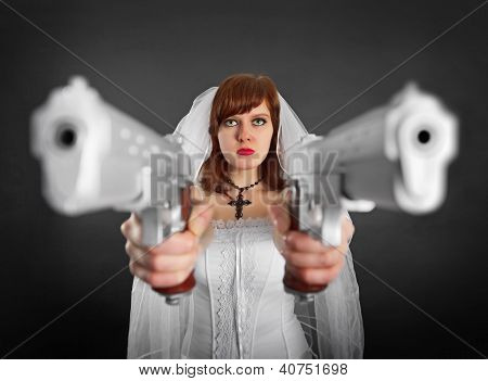 Beautiful Bride Armed With Two Pistols