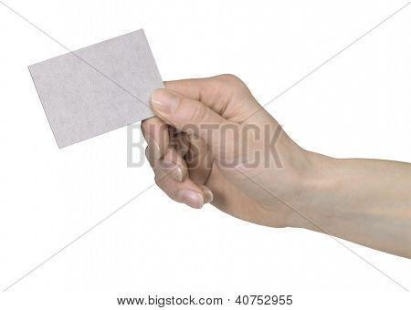 Mão segurando um cartão