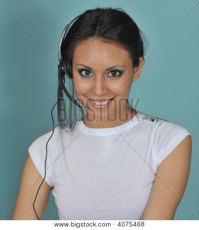Attractive young customer service woman