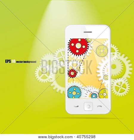 Cloud computing. Smart phone and gears