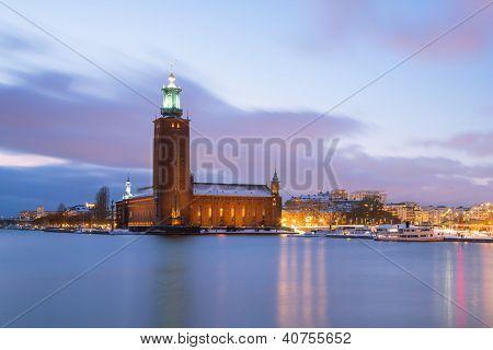 Architecture Stockholm City Hall at dusk twilight Sweden