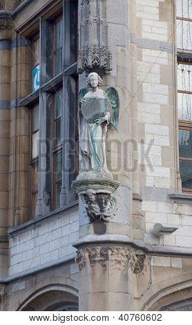 Sculpture Of An Angel On The Former Post Office. Ghent, Belgium