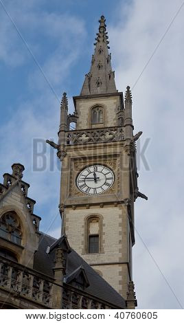 Clock Tower Of The Former Post Office. Ghent, Belgium