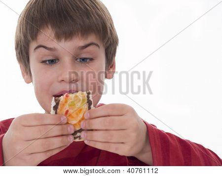 niño comiendo, pedazo de pastel de buen gusto