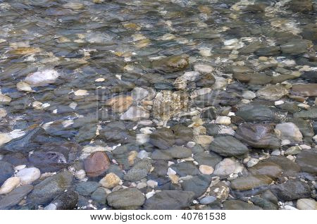 Background Of The Little Stones Under Water
