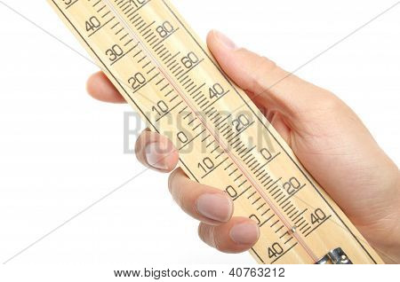 Hand Hold a Thermometer