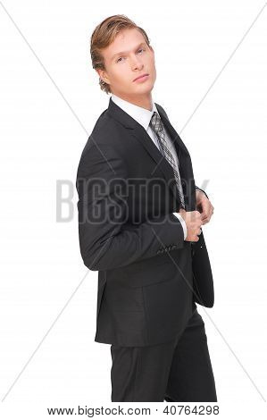 Casual Businessman  Buttoning His Jacket