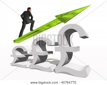 Conceptual 3D human,man or businessman standing over a British pound symbol with an arrow isolated on white background
