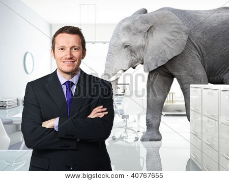smiling man and elephant in modern �£D office
