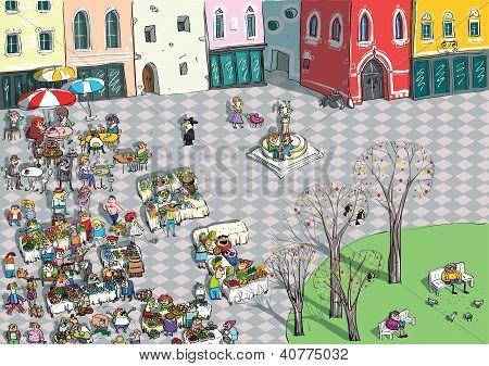 Plaza de la ciudad vibrante