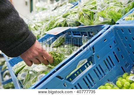 Hand, picking a cellophane packaging with fresh haricots verts from a blue crate inside the cooling of a large wholesale supermarket