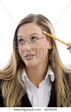 Young Female Holding Pencil
